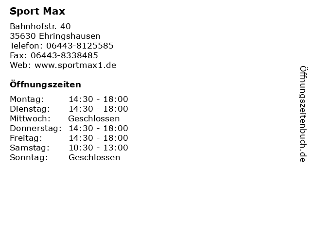 Sport Max in Ehringshausen: Adresse und Öffnungszeiten