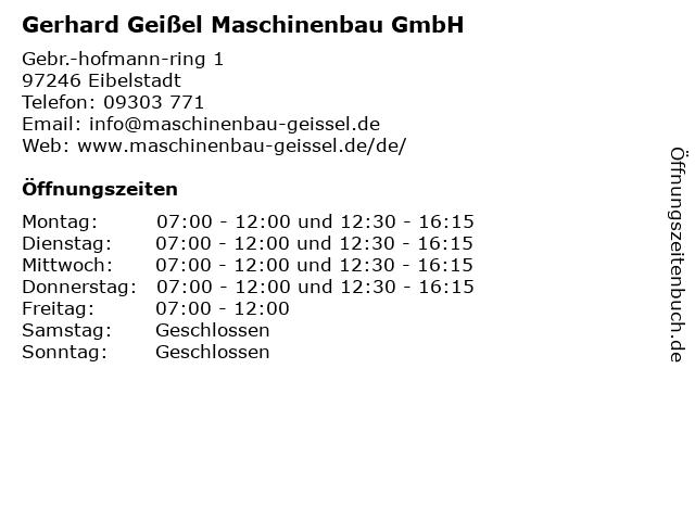 Gerhard Geißel Maschinenbau GmbH in Eibelstadt: Adresse und Öffnungszeiten