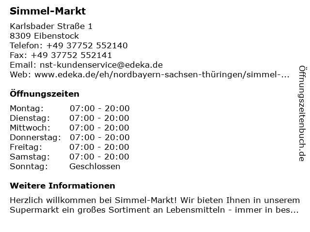 Simmel-Markt in Eibenstock: Adresse und Öffnungszeiten