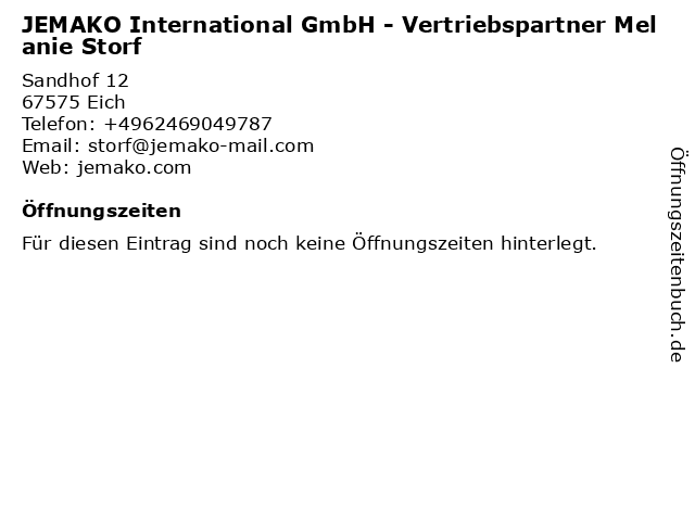 JEMAKO International GmbH - Vertriebspartner Melanie Storf in Eich: Adresse und Öffnungszeiten