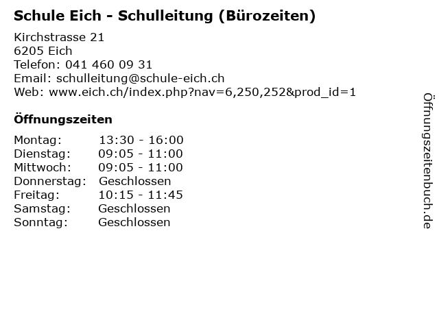 Schule Eich - Schulleitung (Bürozeiten) in Eich: Adresse und Öffnungszeiten
