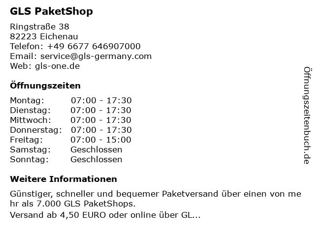GLS PaketShop in Eichenau: Adresse und Öffnungszeiten
