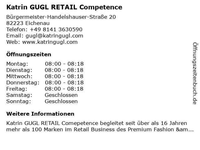 Katrin GUGL RETAIL Competence in Eichenau: Adresse und Öffnungszeiten