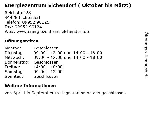Energiezentrum Eichendorf ( Oktober bis März:) in Eichendorf: Adresse und Öffnungszeiten