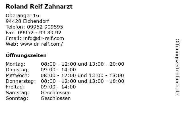Roland Reif Zahnarzt in Eichendorf: Adresse und Öffnungszeiten