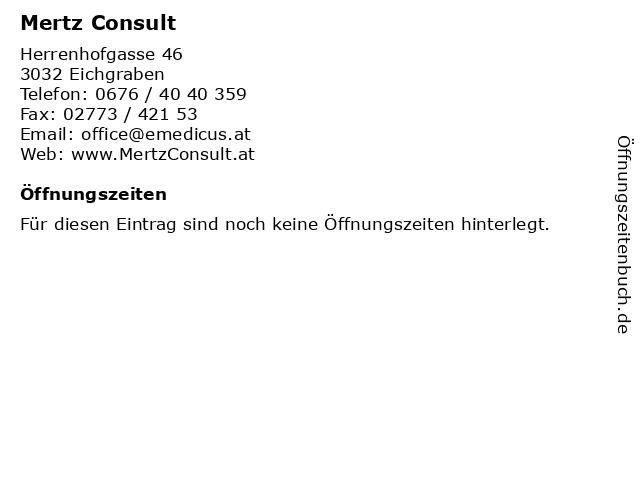 Mertz Consult in Eichgraben: Adresse und Öffnungszeiten
