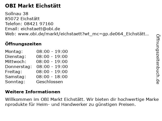 OBI Markt Eichstätt in Eichstätt: Adresse und Öffnungszeiten