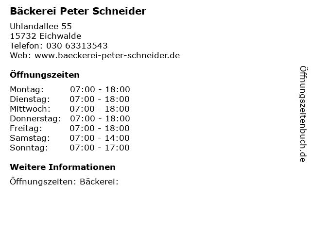 Bäckerei Peter Schneider in Eichwalde: Adresse und Öffnungszeiten
