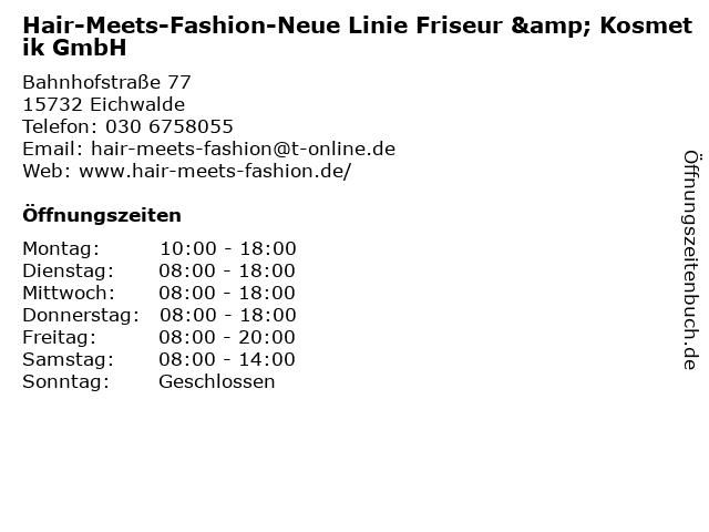 Hair-Meets-Fashion-Neue Linie Friseur & Kosmetik GmbH in Eichwalde: Adresse und Öffnungszeiten