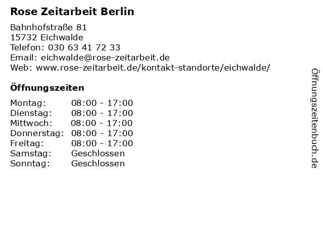 Rose Zeitarbeit Berlin in Eichwalde: Adresse und Öffnungszeiten