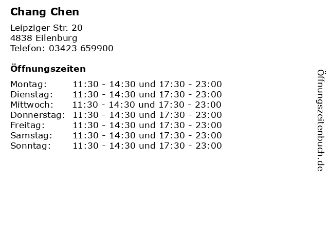 ᐅ Offnungszeiten Chang Chen Leipziger Str 20 In Eilenburg