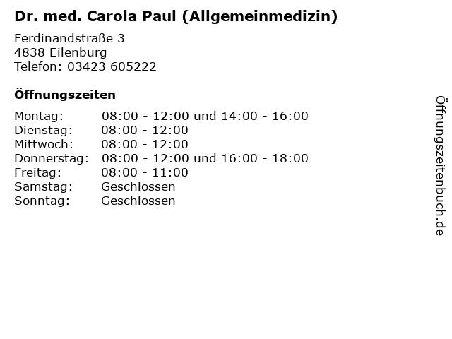 Dr. med. Carola Paul (Allgemeinmedizin) in Eilenburg: Adresse und Öffnungszeiten