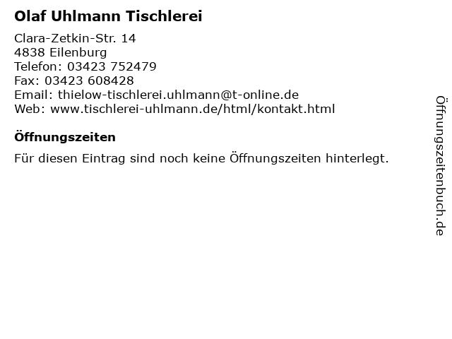 Olaf Uhlmann Tischlerei in Eilenburg: Adresse und Öffnungszeiten