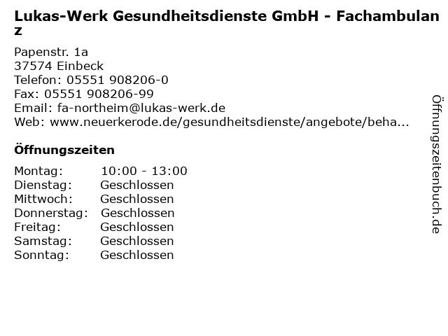 Lukas-Werk Gesundheitsdienste GmbH - Fachambulanz in Einbeck: Adresse und Öffnungszeiten