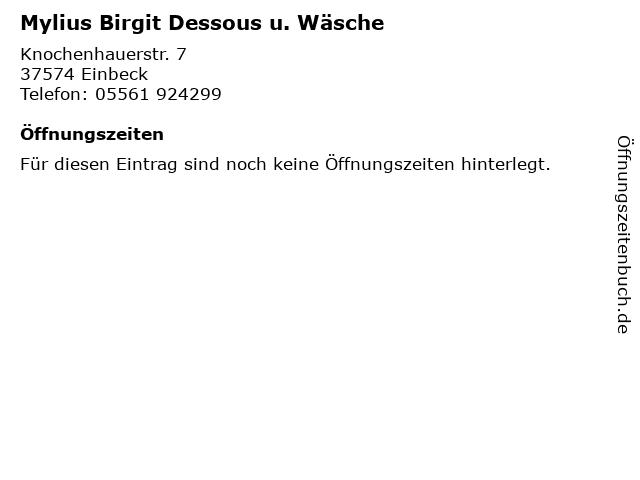 Mylius Birgit Dessous u. Wäsche in Einbeck: Adresse und Öffnungszeiten