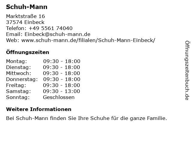 Schuh-Mann in Einbeck: Adresse und Öffnungszeiten