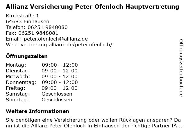 Allianz Vertretung Peter Ofenloch in Einhausen: Adresse und Öffnungszeiten