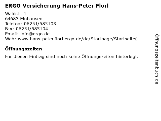 ERGO Versicherung Hans-Peter Florl in Einhausen: Adresse und Öffnungszeiten