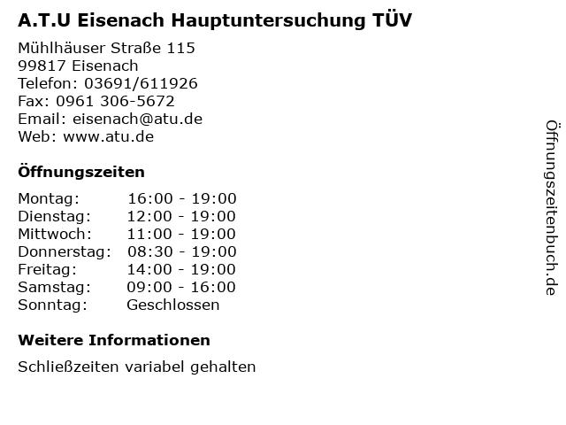 A.T.U Eisenach Hauptuntersuchung TÜV in Eisenach: Adresse und Öffnungszeiten