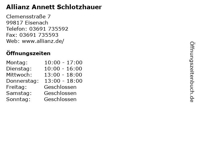 Allianz Annett Schlotzhauer in Eisenach: Adresse und Öffnungszeiten
