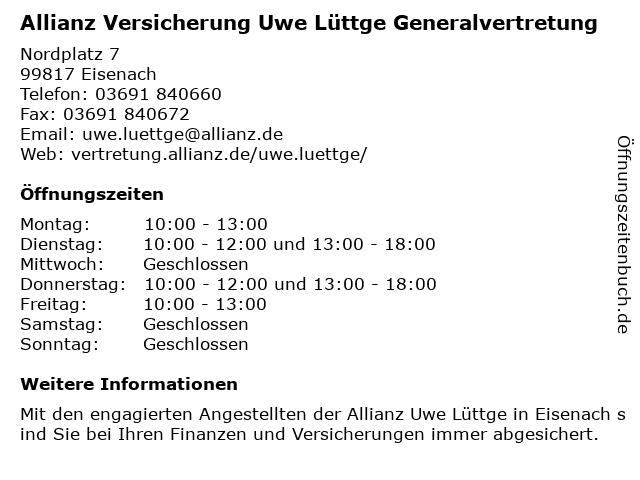 Allianz Uwe Lüttge in Eisenach: Adresse und Öffnungszeiten