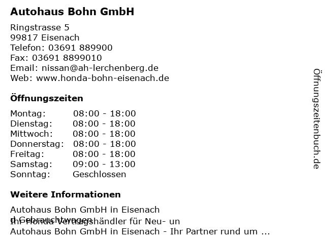Autohaus Bohn GmbH in Eisenach: Adresse und Öffnungszeiten