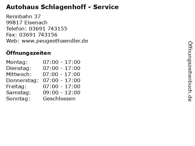 Autohaus Schlagenhoff - Service in Eisenach: Adresse und Öffnungszeiten