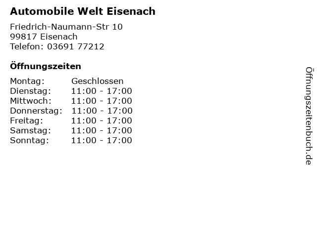 Automobile Welt Eisenach in Eisenach: Adresse und Öffnungszeiten