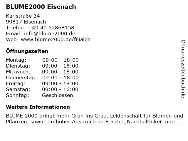Blume 2000 in Eisenach: Adresse und Öffnungszeiten