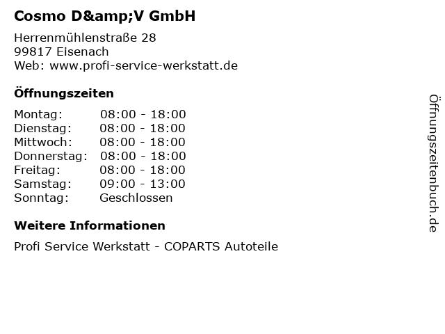 Cosmo D&V GmbH in Eisenach: Adresse und Öffnungszeiten