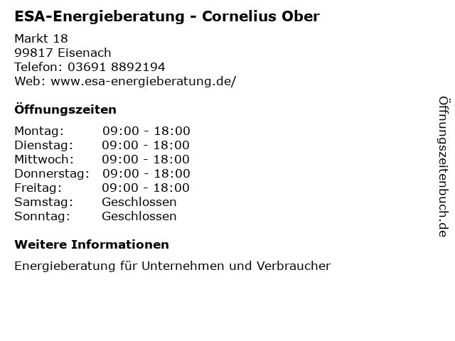 ESA-Energieberatung - Cornelius Ober in Eisenach: Adresse und Öffnungszeiten