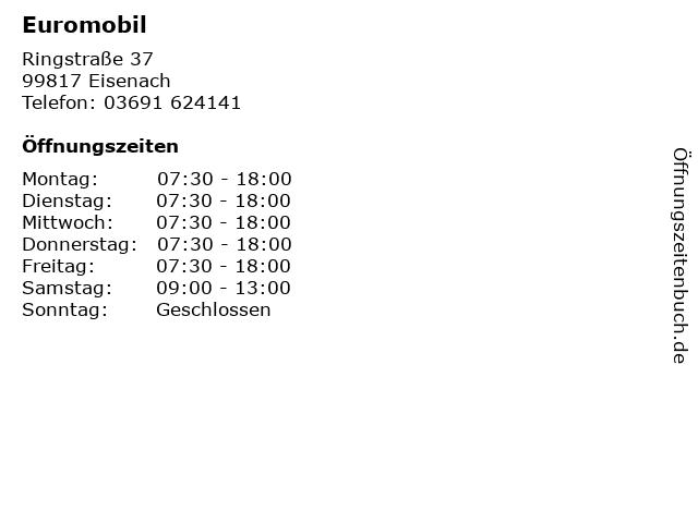 Euromobil in Eisenach: Adresse und Öffnungszeiten