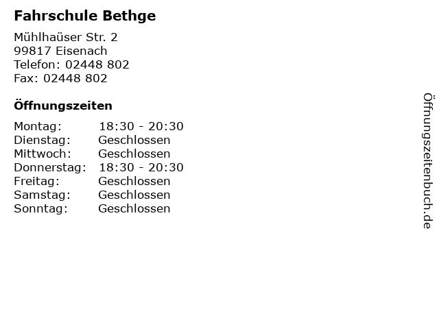 Fahrschule Bethge in Eisenach: Adresse und Öffnungszeiten
