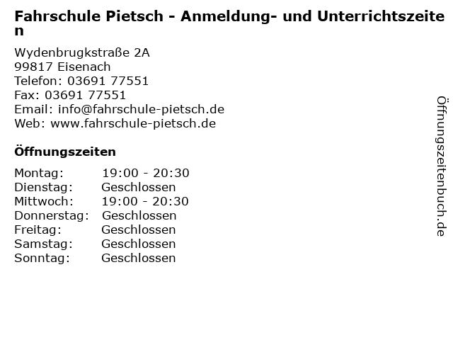 Fahrschule Pietsch - Anmeldung- und Unterrichtszeiten in Eisenach: Adresse und Öffnungszeiten