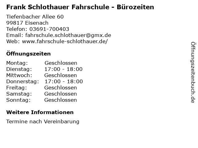 Peter Arnold Fahrschule in Eisenach: Adresse und Öffnungszeiten
