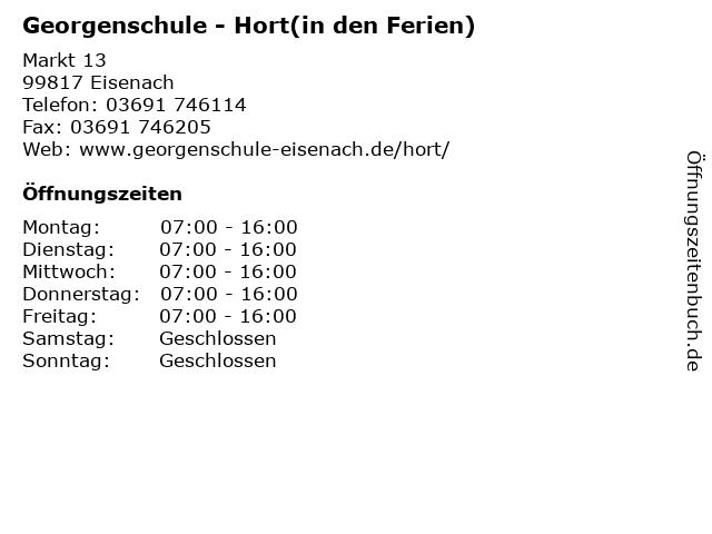 Georgenschule - Hort(in den Ferien) in Eisenach: Adresse und Öffnungszeiten