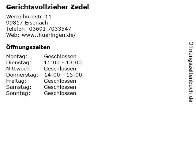 Gerichtsvollzieher Zedel in Eisenach: Adresse und Öffnungszeiten