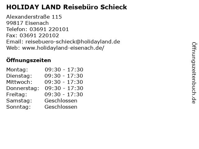 HOLIDAY LAND Reisebüro in Eisenach: Adresse und Öffnungszeiten