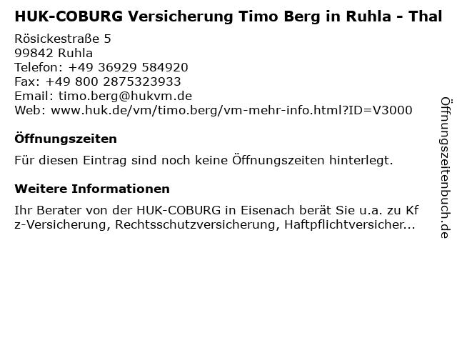 HUK-COBURG Versicherung Timo Berg in Eisenach in Eisenach: Adresse und Öffnungszeiten