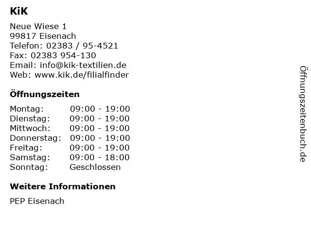 KiK Textilien und Non-Food GmbH in Eisenach: Adresse und Öffnungszeiten