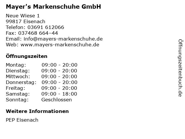Mayer's Markenschuhe GmbH in Eisenach: Adresse und Öffnungszeiten