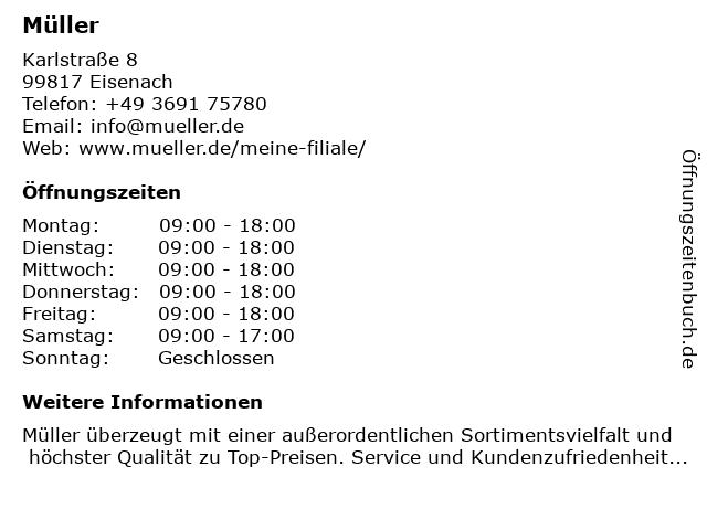 Müller Drogeriemarkt in Eisenach: Adresse und Öffnungszeiten