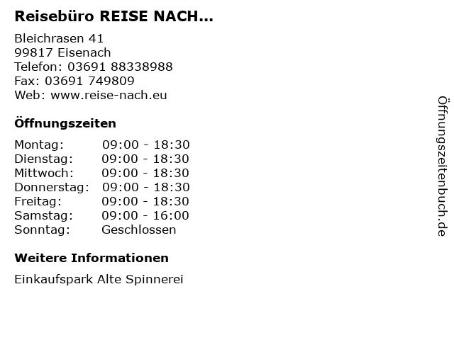 Reisebüro REISE NACH... in Eisenach: Adresse und Öffnungszeiten