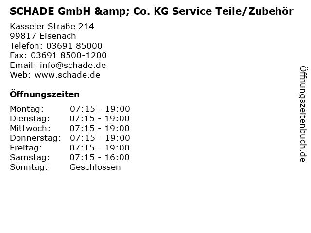 SCHADE GmbH & Co. KG Service Teile/Zubehör in Eisenach: Adresse und Öffnungszeiten