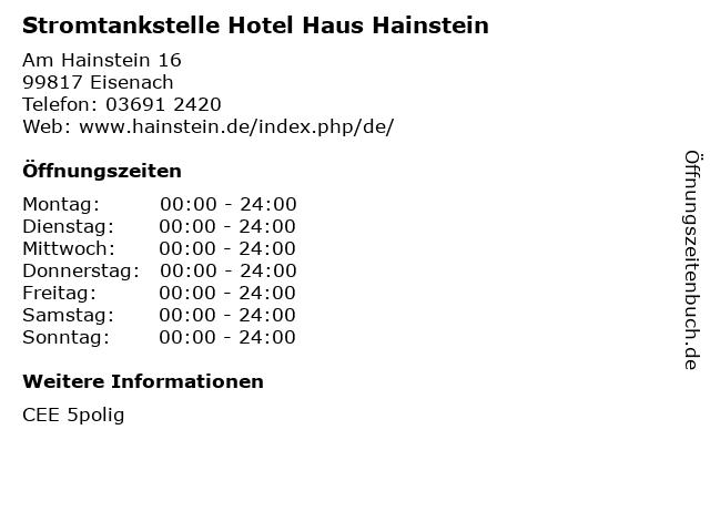 Stromtankstelle Hotel Haus Hainstein in Eisenach: Adresse und Öffnungszeiten