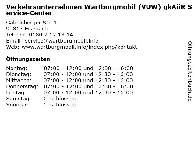Verkehrsunternehmen Wartburgmobil (VUW) gkAöR Service-Center in Eisenach: Adresse und Öffnungszeiten