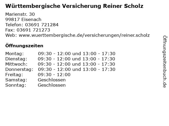 Württembergische Versicherung Reiner Scholz in Eisenach: Adresse und Öffnungszeiten