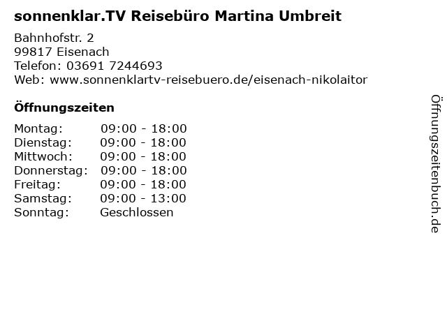 Reisebüro Sonnenklar - Inhaber Martina Umbreit in Eisenach: Adresse und Öffnungszeiten