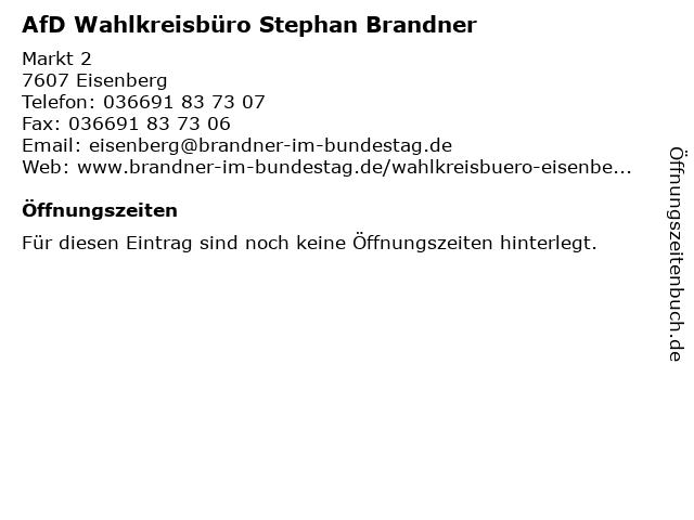 AfD Wahlkreisbüro Stephan Brandner in Eisenberg: Adresse und Öffnungszeiten