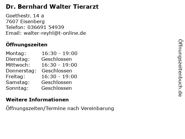 Bernhard Walter Tierarzt in Eisenberg: Adresse und Öffnungszeiten
